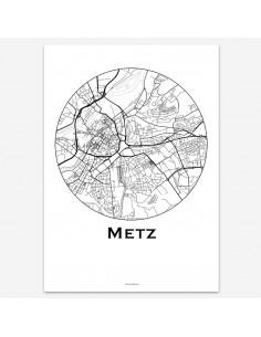 Affiche Poster Metz France Minimalist Map