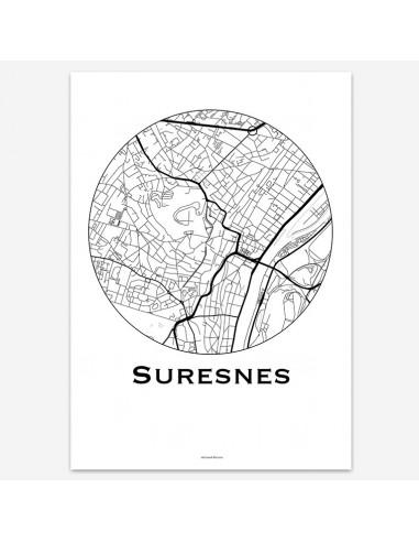 Affiche Poster Suresnes France Minimalist Map