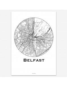 Affiche Poster Belfast Irlande du Nord Minimalist Map
