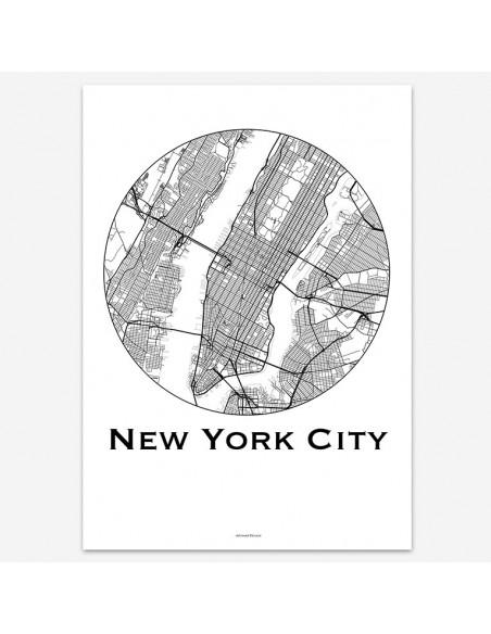 Affiche Poster New York City USA Minimalist Map
