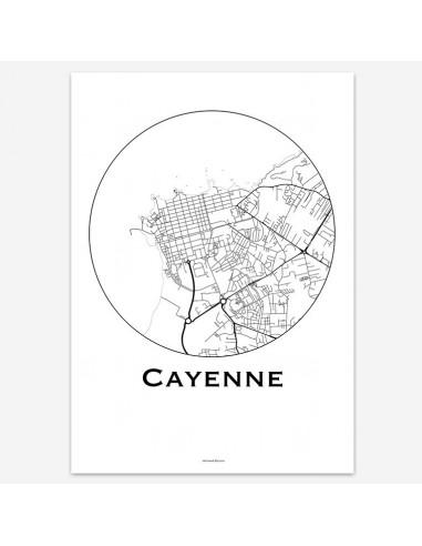 Affiche Poster Cayenne France Minimalist Map