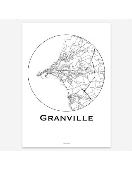 Affiche Poster Granville France Minimalist Map