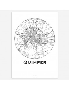 Affiche Poster Quimper France Minimalist Map