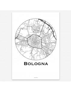 Affiche Poster Bologne Italie Minimalist Map