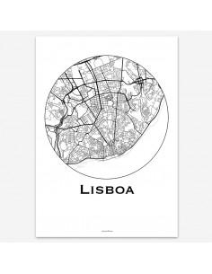 Affiche Poster Lisbonne Portugal Minimalist Map
