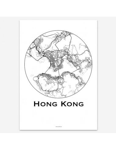 Poster Hong Kong Minimalist Map