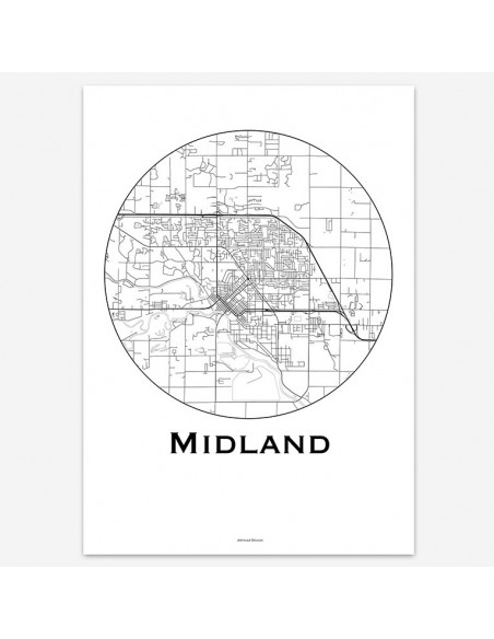 Poster Midland Michigan USA Minimalist Map