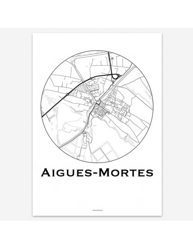 Affiche Poster Aigues-Mortes France Minimalist Map