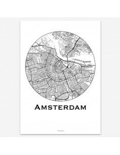 Affiche Poster Amsterdam Pays-Bas Minimalist Map