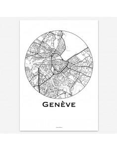 Affiche Poster Genève Suisse Minimalist Map