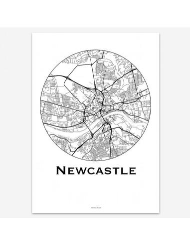 Affiche Poster Newcastle Angleterre Minimalist Map