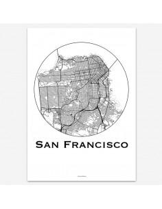Affiche Poster San Francisco Etats-Unis Minimalist Map