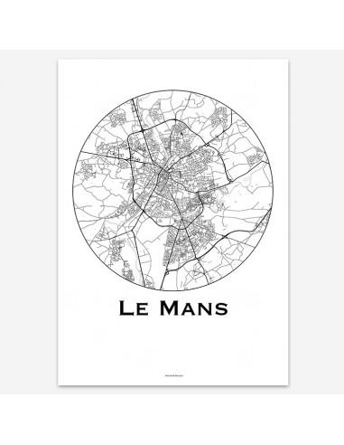 Affiche Poster Le Mans France Minimalist Map