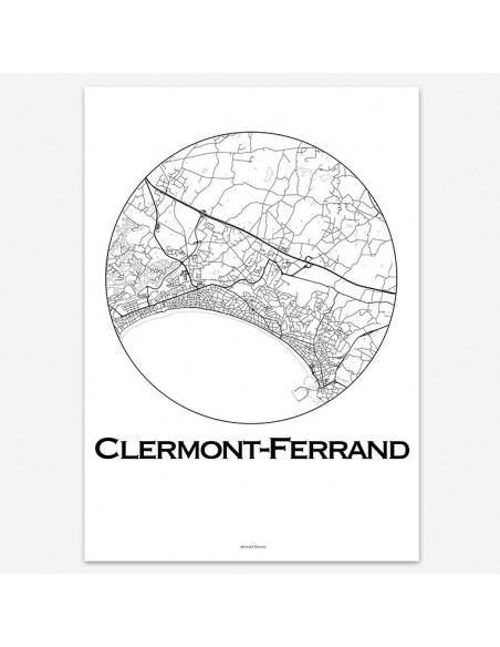 Affiche Poster Clermont-Ferrand France Minimalist Map