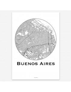 Affiche Poster Buenos Aires Argentine Minimalist Map