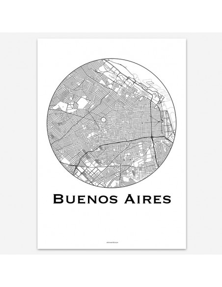 Poster Buenos Aires Argentine Minimalist Map