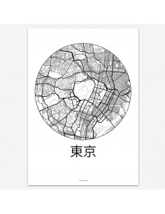 Affiche Poster Tokyo Japon Minimalist Map
