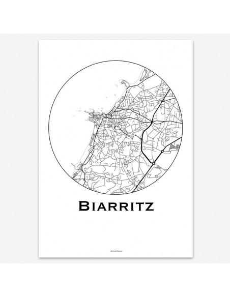 Affiche Poster Biarritz France Minimalist Map