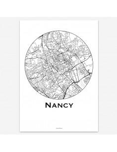 Affiche Poster Nancy France Minimalist Map