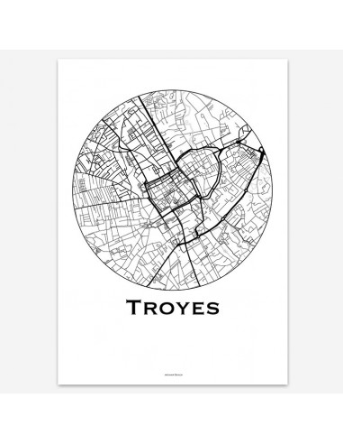Affiche Poster Troyes France Minimalist Map