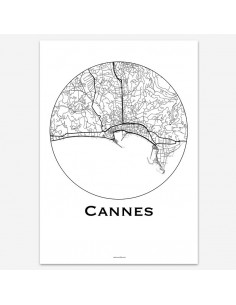 Affiche Poster Cannes France Minimalist Map