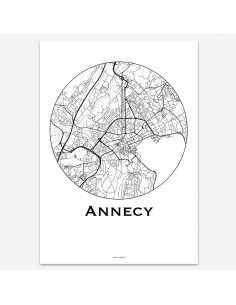 Poster Annecy France Minimalist Map