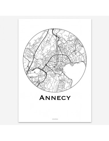 Affiche Poster Annecy France Minimalist Map