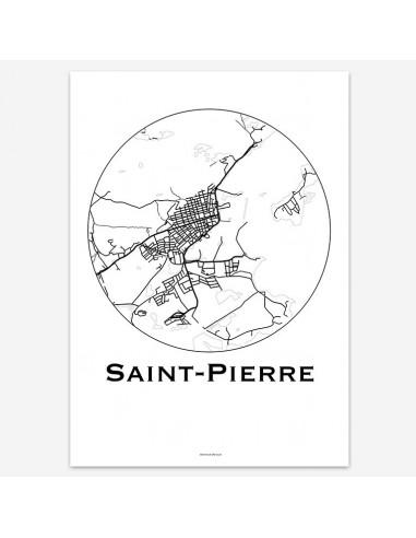 Affiche Poster Saint-Pierre Saint-Pierre-et-Miquelon Minimalist Map