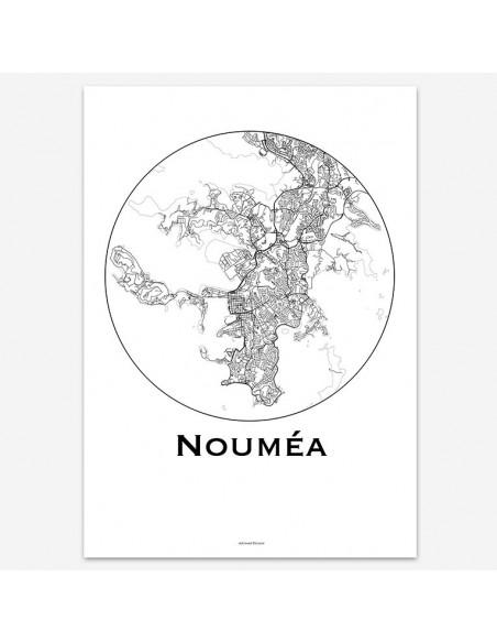 Affiche Poster Nouméa Tahiti Minimalist Map