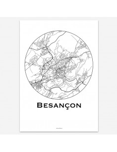 Affiche Poster Besançon France Minimalist Map