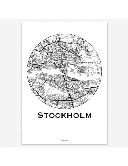 Affiche Poster Stockholm Suède Minimalist Map