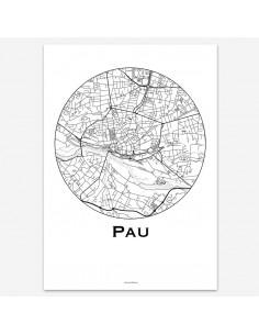 Affiche Poster Pau France Minimalist Map