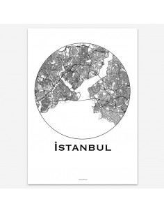Affiche Poster Istanbul Turquie Minimalist Map
