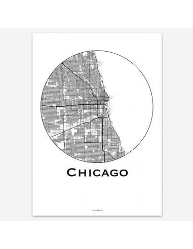 Poster Chicago Illinois USA Minimalist Map