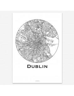 Affiche Poster Dublin Irlande Minimalist Map