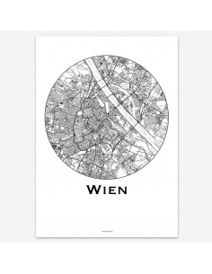 Affiche Poster Vienne Autriche Minimalist Map