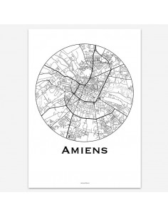 Affiche Poster Amiens France Minimalist Map