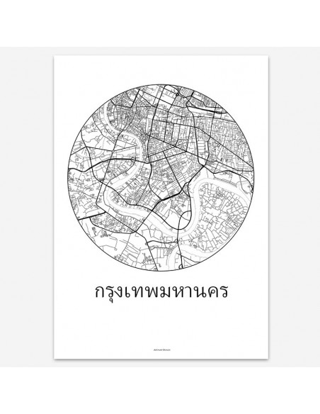 Affiche Poster Bangkok Thaïlande Minimalist Map
