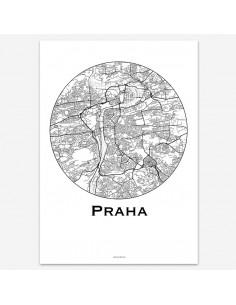 Affiche Poster Prague Rép. tchèque Minimalist Map