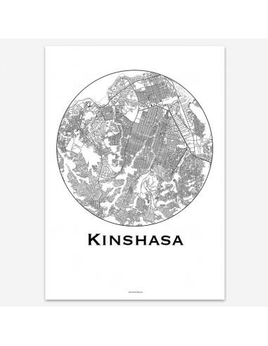 Affiche Poster Kinshasa RDC Minimalist Map