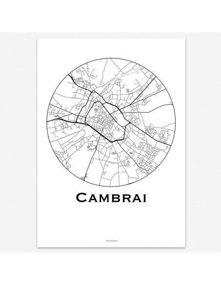 Affiche Poster Cambrai France Minimalist Map