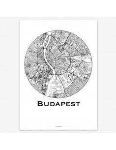 Affiche Poster Budapest Hongrie Minimalist Map