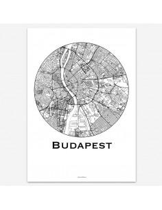 Poster Budapest Hungary Minimalist Map