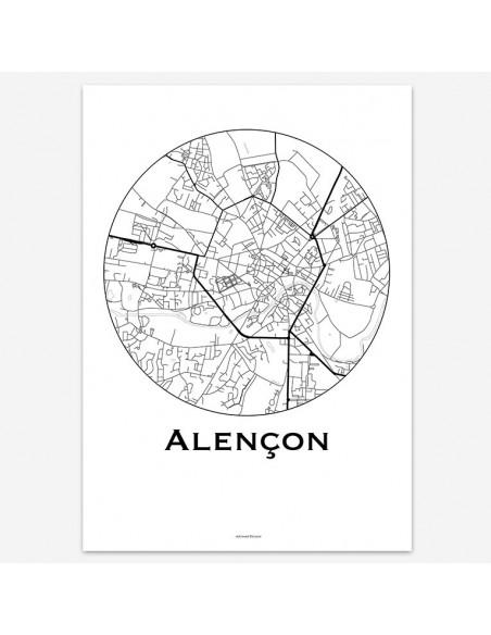 Affiche Poster Alençon France Minimalist Map