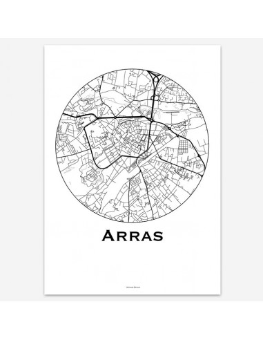 Affiche Poster Arras France Minimalist Map