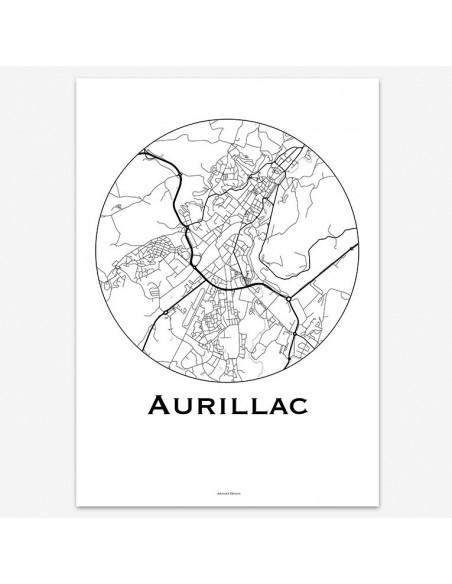 Affiche Poster Aurillac France Minimalist Map