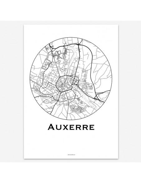 Affiche Poster Auxerre France Minimalist Map