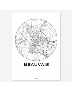 Poster Beauvais France Minimalist Map