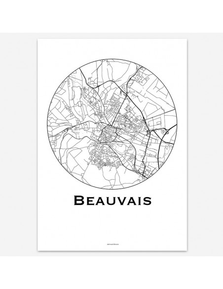 Affiche Poster Beauvais France Minimalist Map