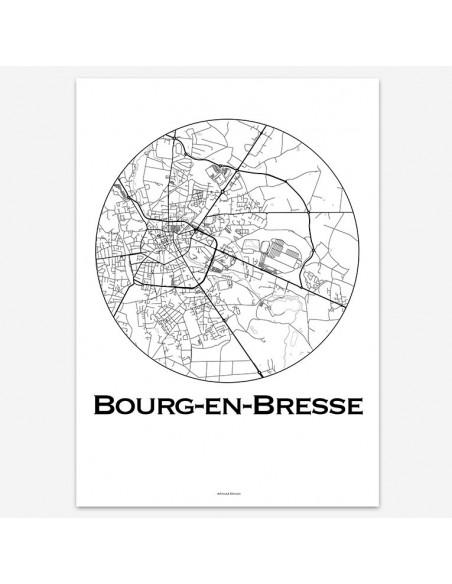 Affiche Poster Bourg-en-Bresse France Minimalist Map